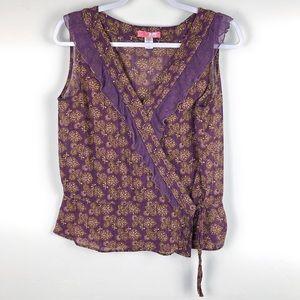 ANTHRO✨Lux Floral Purple/Green Wrap Blouse sz L